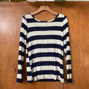 Navy Striped Bow Back Long Sleeve